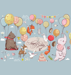 cute animals flying with balloons vector image vector image