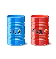 Metal barrels with oil and petrol vector image vector image