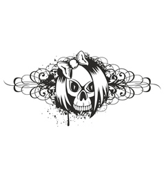 skull emo with pattern vector image vector image