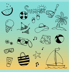 summer holiday doodles summer icon set vector image