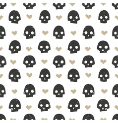 Seamless pattern with skulls and hearts Modern vector image vector image