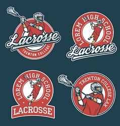 Set of lacrosse team emblems vector image