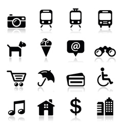Travel tourism and transport icons set - vector image vector image