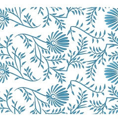 Blue and white seamless floral background vector image