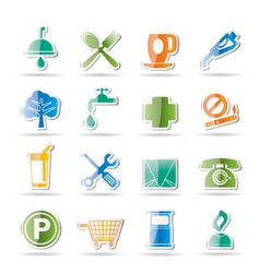 petrol station and travel icons vector image
