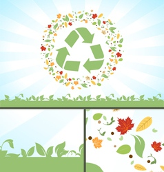 Recycle Symbol Green Leaves vector image