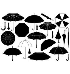 Set of different umbrellas vector