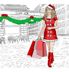 Sketch of a Lady Doing Christmas Shopping vector image vector image