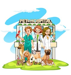 Three vets and many pets at the hospital vector image vector image