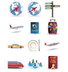 travel and globe icons vector image vector image