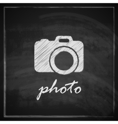 vintage with camera sign on blackboard background vector image