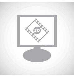 3D movie grey monitor icon vector