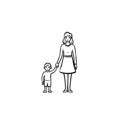 a mother caring about a child hand drawn outline vector image