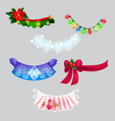 a set decorations in form christmas vector image