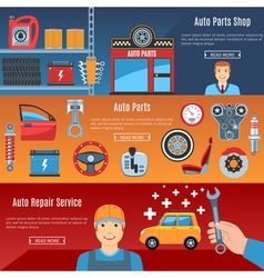 Auto Service Flat Horizontal Banners Set vector image