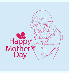 Background hand drawn mother with baby vector