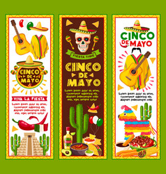 Banners for cinco de mayo mexican holiday vector
