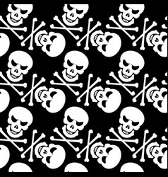 Black and white seamless pattern with skulls vector