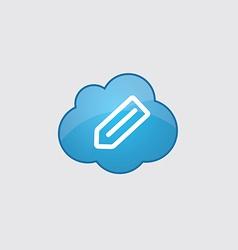 Blue cloud pencil icon vector image