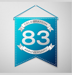 blue pennant with inscription eighty three years vector image