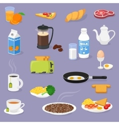 Breakfast time with food and drinks vector image