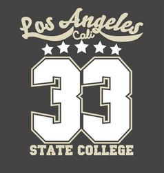 california sport wear t-shirt typography design vector image
