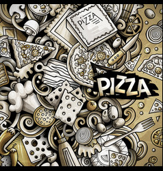 Cartoon doodles pizza frame graphics vector