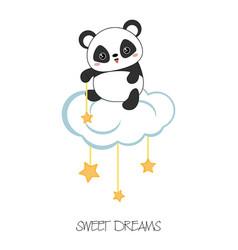 cartoon panda sitting on the cloud cartoon panda vector image
