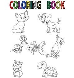 cartoon pet coloring book vector image