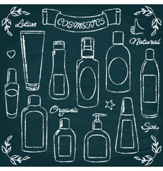 Chalkboard cosmetic bottles set 1 vector image