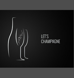 champagne bottle and glass silhouette on back vector image