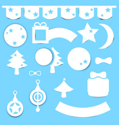 christmas element paper decoration set vector image