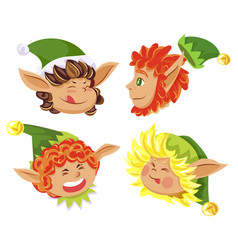 christmas postcard with elf head in hat vector image