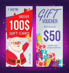 christmas voucher vertical banner merry vector image