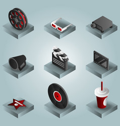 cinema color gradient isometric icons set vector image