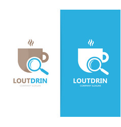 coffee and loupe logo combination drink vector image