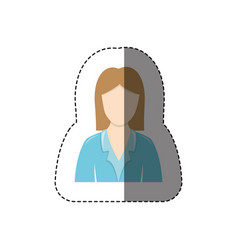 Color sticker with half body of nurse without face vector