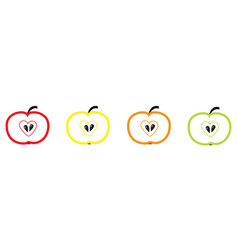 colorful apple set line heart shape seed green vector image