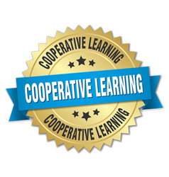 cooperative learning round isolated gold badge vector image