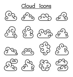 curl cloud icon set in thin line style vector image