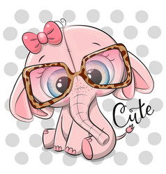 Cute cartoon pink elephant in pink glasses vector