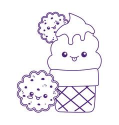 Cute ice cream cone and cookies kawaii cartoon vector