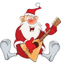 Cute Santa Claus and Balalaika vector