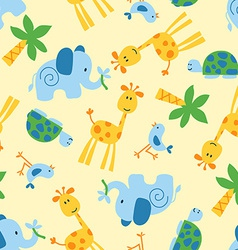 Cute wild animals seamless pattern vector