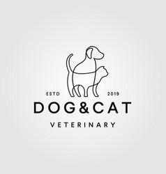 dog cat line art outline monoline logo retro vector image