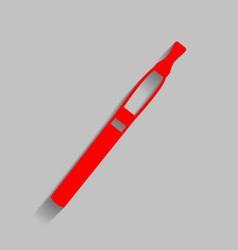 e-cigarette sign red icon with soft vector image