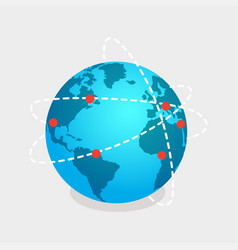 earth and online shops net isolated vector image