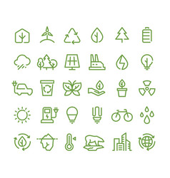 Eco and green environment line icons vector