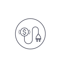 Electricity costs line icon with electric plug vector
