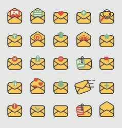 email envelope cover icons set vector image
